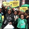 South African women march against gender-based violence